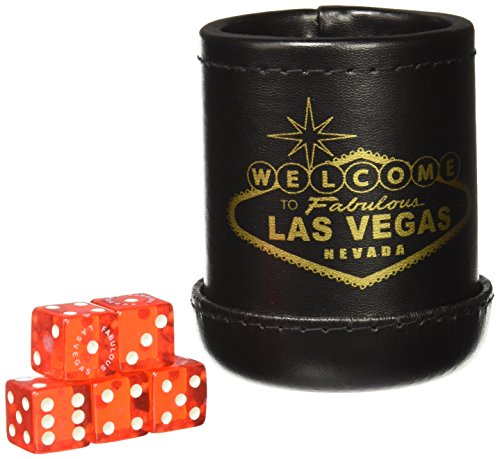"""Black Deluxe """"Welcome To Las Vegas"""" Dice Cup with 5 for sale  Delivered anywhere in USA"""