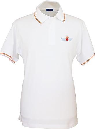Pi2010 – Polo Ejército del Aire para Hombre, Color Blanco, Bandera España en Cuello y Mangas, 100% algodón: Amazon.es: Ropa y accesorios