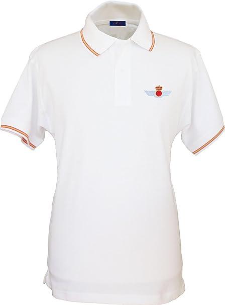 Pi2010 – Polo Ejército del Aire para Hombre, Color Blanco, Bandera ...