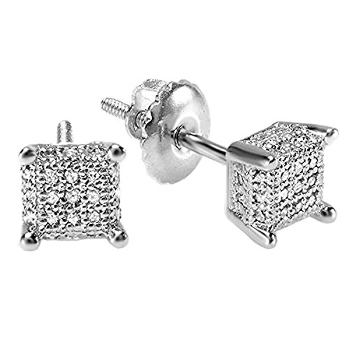 Dazzlingrock Collection 0.25 Carat (ctw) Round White Diamond Ice Cube Mens Hip Hop Iced Stud Earrings 1/4 CT, Sterling Silver