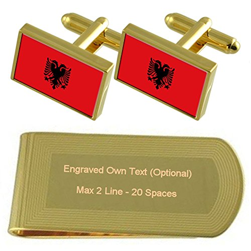 Flag Engraved Gift Set Albania Gold Clip tone Cufflinks Money FZdAxU