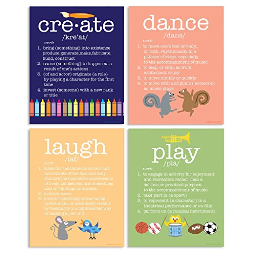 The Kids Room By Stupell 4 Piece Definitions Wall Plaque Set, Create/Dance/Laugh/Play, Proudly Made in USA by The Kids Room by Stupell