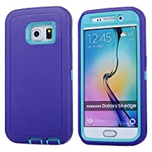 MOONCASE Galaxy S6 Edge Case, 3 Layers Heavy Duty Defender Hybrid Soft TPU +PC Bumper Triple Shockproof Drop Resistance Protective Case Cover for Samsung Galaxy S6 Edge -Purple Blue