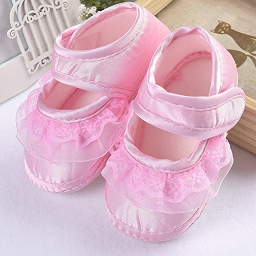 Zhhlinyuan Lovely Bebé Girl Non-Slip Shoes Newborn Beautiful Lace Princess Shoes Pink
