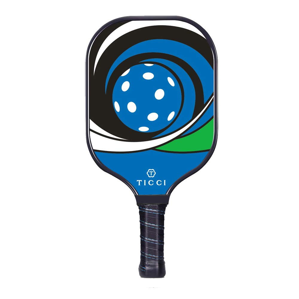 TICCI Pickleball Paddle Fiberglass Face Pickleball Racket Lightweight Honeycomb Composite Core Pickleball Racquet (Fiberglass Blue Green) by T TICCI
