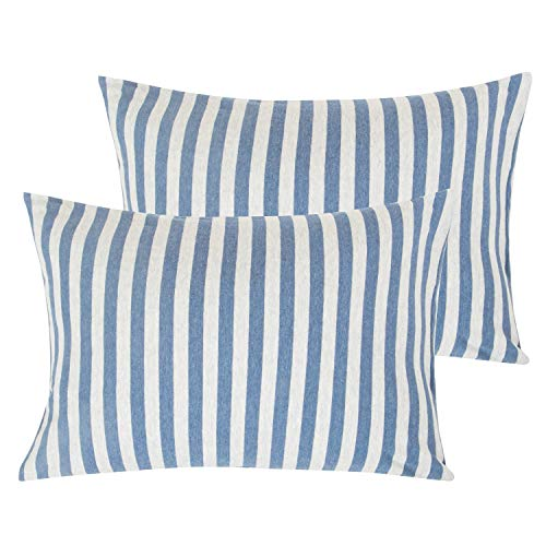"""NTBAY Organic Cotton Toddler Pillowcases, 2 Pcs Soft and Breathable Travel Pillow Cases, 13""""x 18"""", Blue and White from NTBAY"""