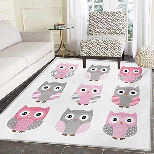 - Pink Grey Bath Mats Carpet Cute Owl Figures Nocturnal Exotic Mystic Forest Night Animals Illustration Floor Mat Pattern 40