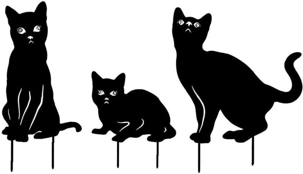 Metal Cat Garden Statues Black Cat Silhouette Cat Decorative Garden Stakes Garden Outdoor Statues Animal Stakes for Decor and Lawn Ornaments 3PCS