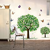 COFFLED Wall Decal Stickers Three Trees,Bright Colorful Vinyl Easy-To-Apply and Removable Wall Decoration for Bedroom or Sitting Room