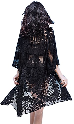 (Womens Beach Cover komino Cover up Long Black Cardigans Flowy Embroidered Lace with Half Sleeves (One Size, Y-Black))
