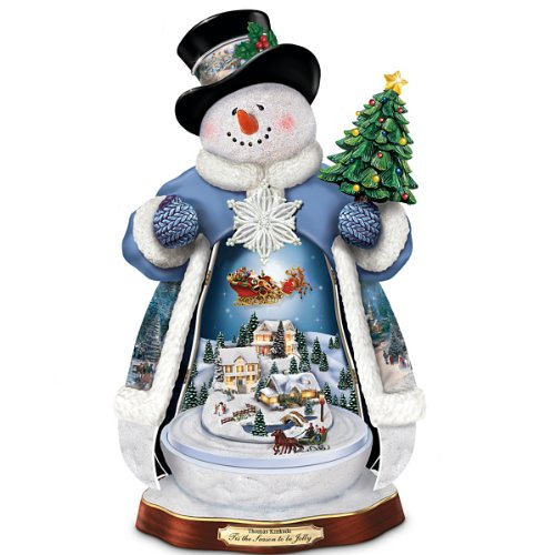 Thomas Kinkade 'Tis The Season To Be Jolly Christmas Musical Snowman Figurine: Lights Up! by The Bradford Exchange