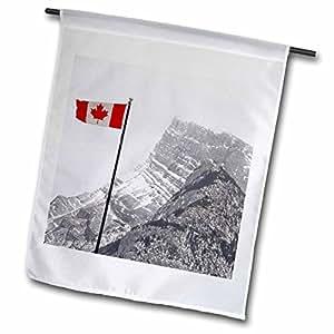 Danita Delimont - Alberta - Canada, Alberta, Banff. Mountain view with flag-CN01 CMI0182 - Cindy Miller Hopkins - 18 x 27 inch Garden Flag (fl_69611_2)