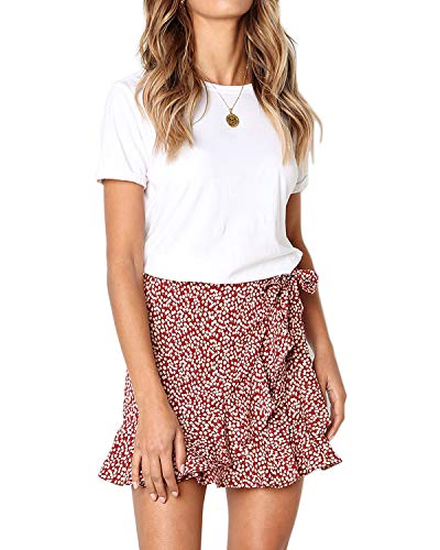 (Salamola Women's Leopard Asymmetrical Ruffles High Waist Printed Cute Casual Mini Skirt(Red,S))