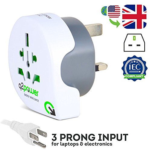 World to UK Travel Adapter by Q2Power™ | For Type G Outlets | Grounded & Safe | Works with Laptops, Computers, Smartphone Chargers, Portable Devices | Perfect for International - Group Outlet The Hut