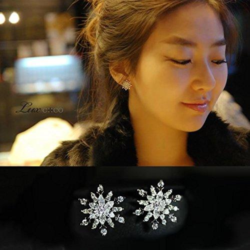 usongs European spring rain jewelry 925 sterling silver CZ Micro Pave snowflake earrings women girls earrings gift