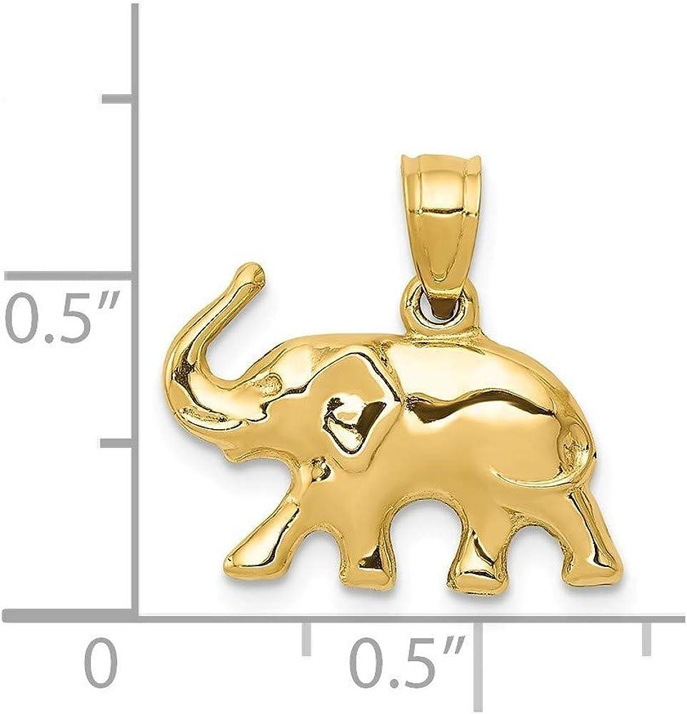 14k Elephant Pendant JewelryWeb Measures 16.6x17.5mm