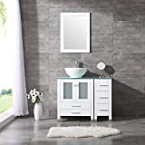 BATHJOY 36'' White Bathroom Wood Vanity Cabinet Ceramic Vessel Sink Top Faucet Drain Combo with Mirror Vanities Set