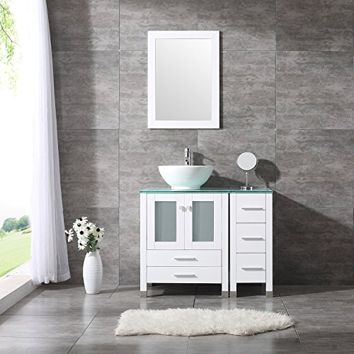 BATHJOY 36u0027u0027 White Bathroom Wood Vanity Cabinet Ceramic Vessel Sink Top  Faucet Drain Combo