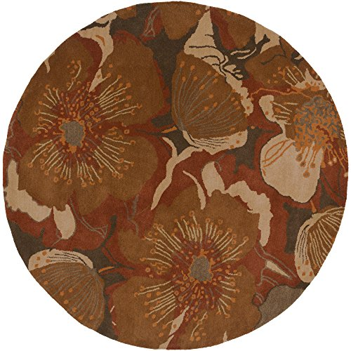Surya Athena ATH-5102 Transitional Hand Tufted 100% Wool Sepia 6' Round Floral Area Rug (Sienna Burnt Wool Rug)