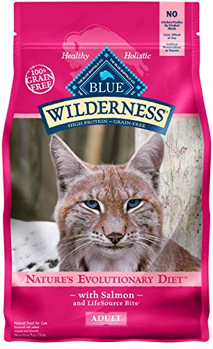 - Blue Buffalo Wilderness High Protein Grain Free, Natural Adult Dry Cat Food, Salmon 5-lb