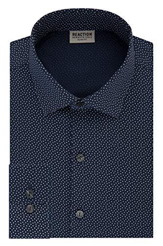 Kenneth Cole REACTION Men's Technicole Slim Fit Stretch Print Spread Collar Dress Shirt, Night Blue, 17.5