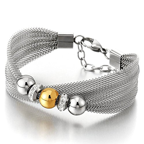 (Gold Silver Two-Tone Beads Bracelet with Cubic Zirconia, Steel Wire Mesh Bangle for Womens and Girls)