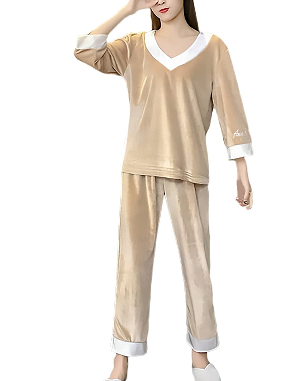 Pijamas Mujer Tops + Pantalones 2 Piezas Conjunto Elegantes Otoño Joven Bastante Invierno Manga Larga V Cuello Anchas Casual Velours Camisones Women: ...