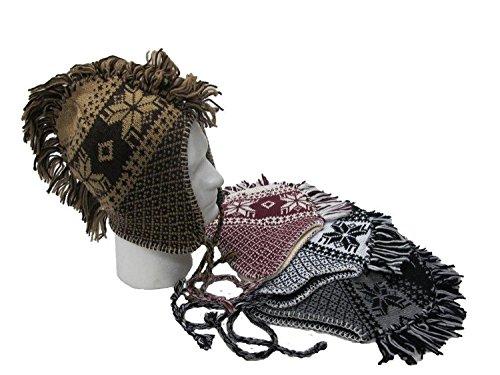 Mohawk Style EarFlap Winter Hat, Knit with soft warmlining, 4 Assorted Designs (Women Mohawk For Hat)