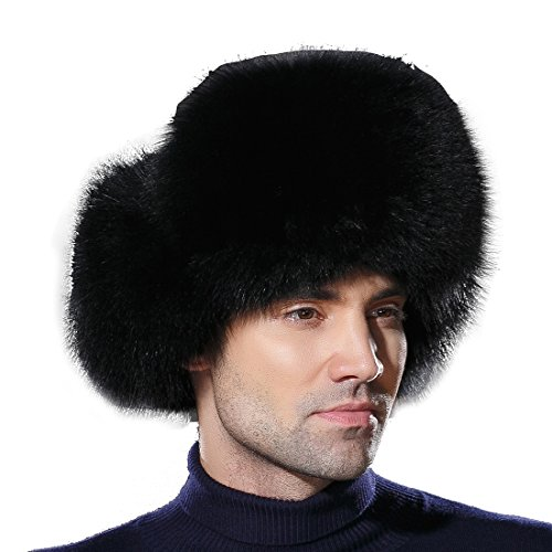 (URSFUR Winter Mens Trapper Hat Real Leather and Fox Fur Russian Ushanka Cap)