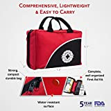 First Aid Kit 115 pieces | Complete Emergency kit for Car, Home, Travel, Office, Sports or Survival | Medical Bag fully stocked with high quality supplies