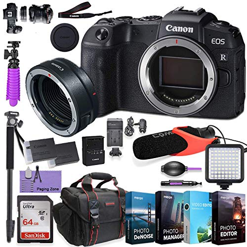CanonEOS RP Mirrorless Digital Camera (Body Only) and CanonMount Adapter EF-EOS R kit Bundled w/Deluxe Accessories Like Comica Pro Mic, High Speed Flash, 4-Pack Photo Editing Software and More