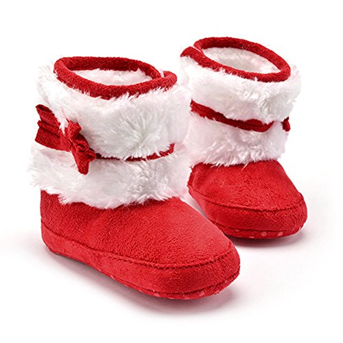 Fashion Winter Boots for Girls Kids Baby Shoes Warm Ankle Snow Booties Shoes (Red, 2)
