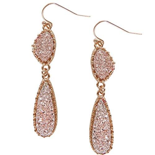 Humble Chic Simulated Druzy Drop Dangles - Gold-Tone Long Double Teardrop Dangly Earrings for Women, Rose Gold-Tone Stone, Metallic Pink, ()