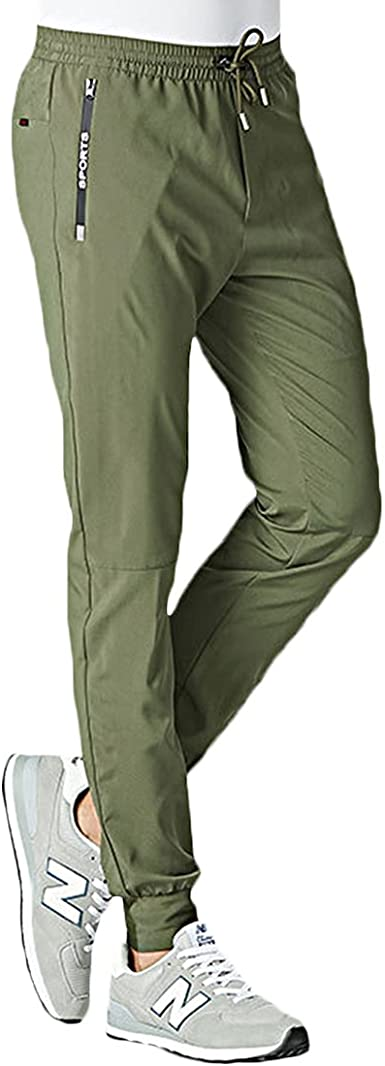FASKUNOIE Mens Quick Dry Hiking Trousers Lightweight Walking Pants Jogger Sweatpants with Zipper Pockets