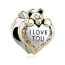 I Love You Heart Teddy Clear Birthstone Crystal Charms Jewelry Bead Fit Chamilia Pandora Charm Bracelet