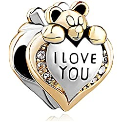 Charmed Craft New I Love You Heart Teddy Bear Crystal Birthstone Charms Bead Fits Pandora Bracelet Valentine's Day Gifts Idea