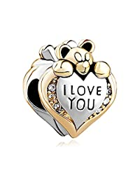 I Love You Heart Teddy Clear Birthstone Crystal Charms Jewelry Bead Fit Chamilia Pandora Charm Bracelet