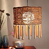 HQLCX Chandelier Southeast Asian Chinese Teahouse Rattan Farmhouse Restaurant Cafe Restaurant Chandelier Chandelier Zen