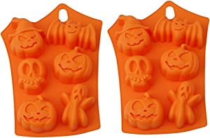 Halloween Silicone Pumpkin Cake Baking Molds, 2pc Creative Nonstick Silicone Cake Molds, Chocolate Cupcakes Bat Skull Ghost Shape for Kitchen DIY Bake Tools, 23x17.5x1cm