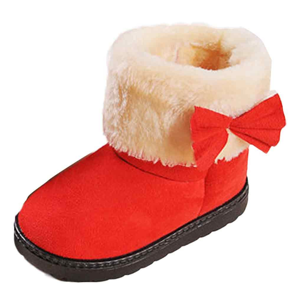 LNGRY Toddler Baby Girls Shoes Bowknot Winter Cotton Snow Boots Warm Shoes Boots