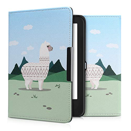 kwmobile Case for Tolino Shine 2 HD - Book Style PU Leather Protective e-Reader Cover Folio Case - champagne green light blue by kwmobile (Image #8)