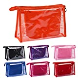 LARARHEE-2pcs Clear Transparent Plastic PVC Travel Cosmetic Make Up Toiletry Bag Pouch TB