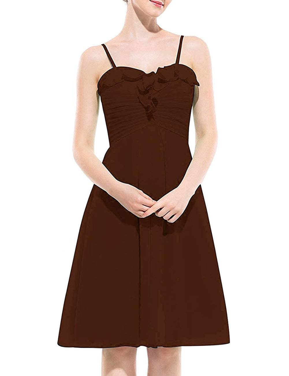 Chocolate Uther Spaghetti Strap Bridesmaid Dress Short Homecoming Party Cocktail Dresses
