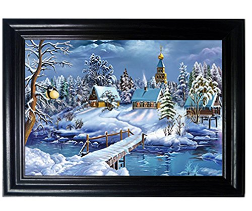 Cottage Framed Picture Art Decor (COTTAGE FRAMED Wall Art--Lenticular Technology Causes The Artwork To Flip-MULTIPLE PICTURES IN ONE-HOLOGRAM Type Images Change--MESMERIZING HOLOGRAPHIC Optical Illusions By THOSE FLIPPING PICTURES)