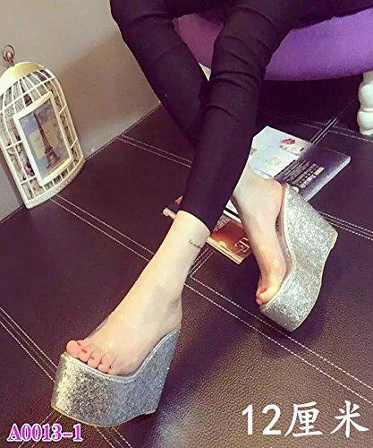 XiaoGao tienda tacon grueso 18 lentejuelas plata cm centímetros noche de fondo 12 de alto Zapatillas de transparentes zapatillas Sr7FSq