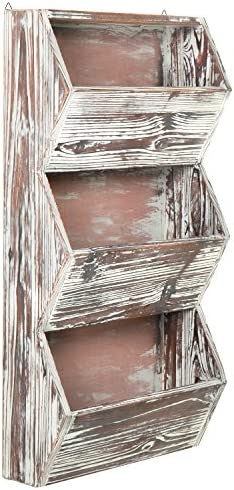 MyGift 3 Tier 30 inches Rustic Torched Wood Wall Mounted Storage Organizer Rack, Hanging Multipurpose Open Bins