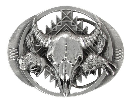 Pewter Belt Buckle - Buffalo Bison Skull (Diamond Cut and Cut Out)