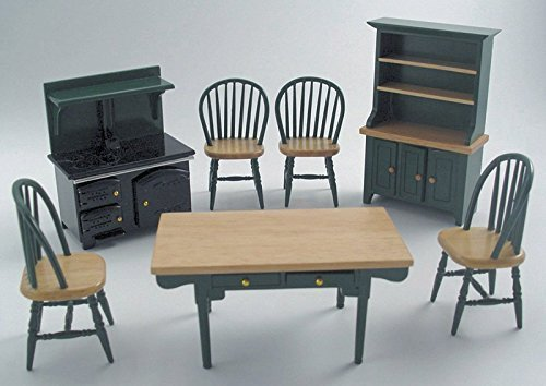 1/12th Scale Green Kitchen Dolls House Furniture Set Streets Ahead Streetsahead DF897