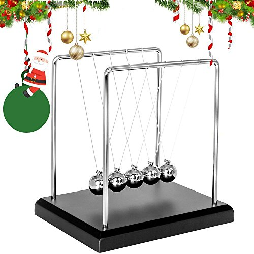 Newton's Cradle Metal Balance Ball With Wooden Base,Newtons Cradle 5 Balls With Swing String,pendulum Office Desk Toy Back And Forth Motion Dragon Steel Magnetic Ball Bearing Game Physics Toys