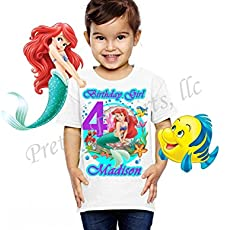 Ariel Birthday Shirt ADD Any Name And Age Little Mermaid Party